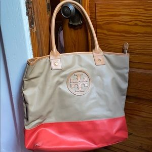 Tory Burch camel and coral color block tote!
